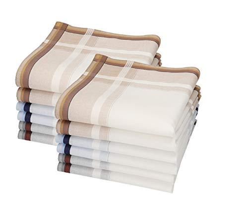 Betz Juego de pañuelos LEO 5 de tejido para caballeros 100% algodón 40x40 cm diseño 5 Color beige 12 piezas