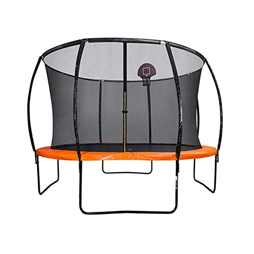 TBTBGXQ Kids Trampoline, 10FT Outdoor Fitness Trampolines with Basketball Hoop, Ladder, Safety Housing Net, Aerobic Training Bouncers for Adults Children