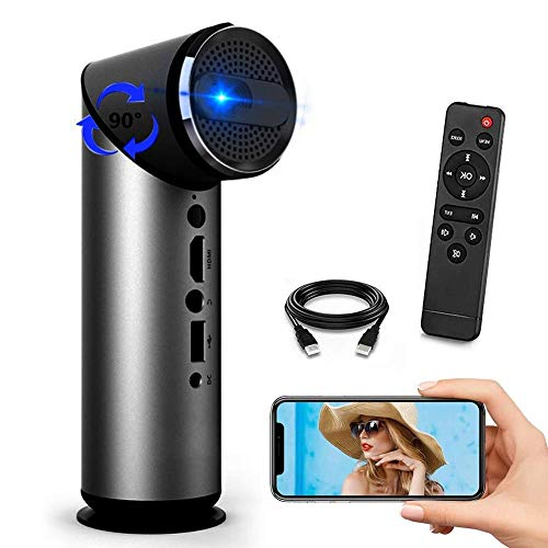 GPWDSN Smart Projector WiFi, Video Projector Bluetooth 1080P 100Lumens MAX 100'Display Supported, Keystone Correction, Compatible con HDMI/USB/VGA/TV Stick / PS4 Black-UK Voltage
