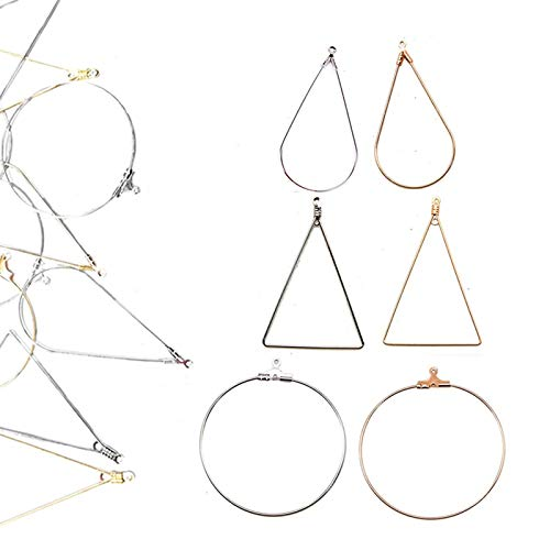 Xinhongo 120 Pcs Beading Hoop Earring Finding with Loop Jewelry Finding for Earring Jewelry Making Earring DIY Craft,Teardrop,Triangle and Round(Gold/Silver)