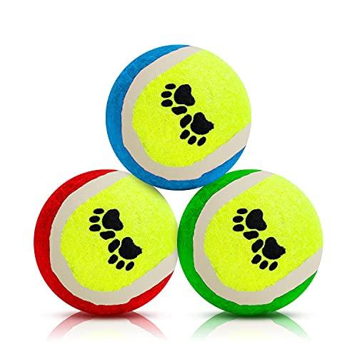 Nobleza Pelotas de Juguetes para Perros, Pelota Perro indestructibles y de Goma Natural, Pelotas Caucho Tenis, Bola de Juguete Que rebota, Adecuada para Perros pequeños y medianos - 6.36cm/3 Pack