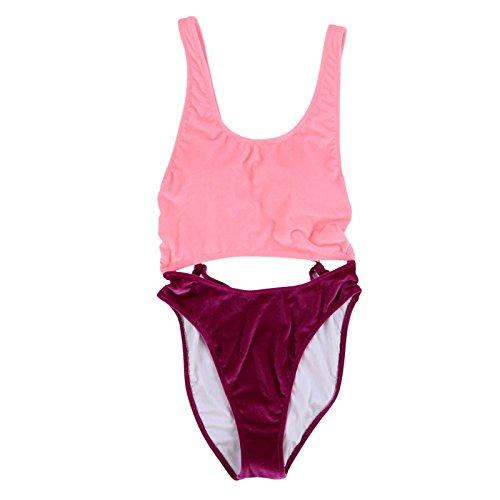 Victoria's Secret Pink Velour Monokini One Piece Swimsuit (S, Pink/Purple)