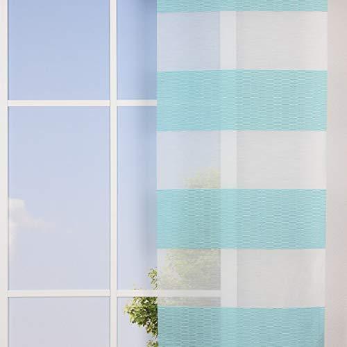 SCHÖNER LEBEN. Gardine Flächenvorhang Schiebe-Paneele Meterware LOFT Querstreifen Linien weiß türkis 60cm Breite