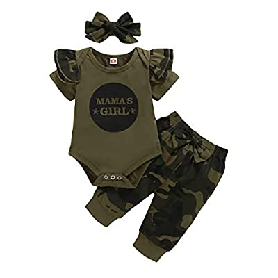 Nilikastta 3PCS Newborn Baby Girls Clothes Infant Outfit,Romper Bodysuit Short Sleeve Tops Ruffled Jumpsuit + Camouflage Pants+Headband Casual Set(Baby Girl camo,12-18 Months)