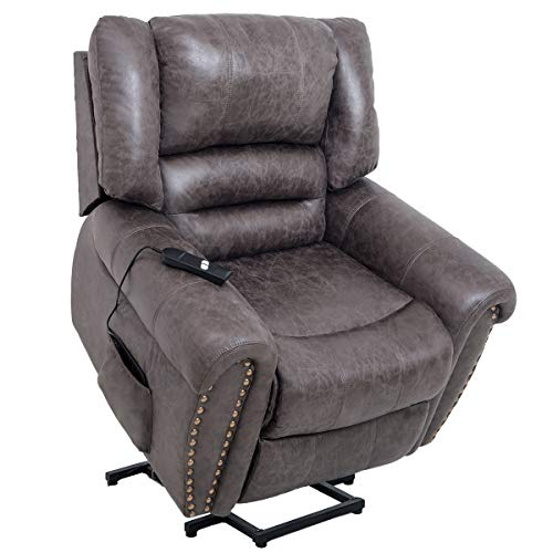 Merax Power Lift Recliners Chairs Lazy Sofa, Heavy-Duty Fuction with Remote Control for Elderly, Office or Living Room, Smoky Brown