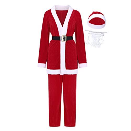 INLLADDY 5-teiliges Weihnachtsmann Nikolauskostüm Kostüm für Herren Mit Tops Shirt Hosen Mütze Bart Gürtel und Hut Rot Rot M