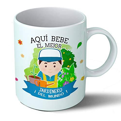 Planetacase Taza Desayuno Aquí Bebe el Mejor Jardinero del Mundo Regalo Original jardineria Ceramica 330 mL