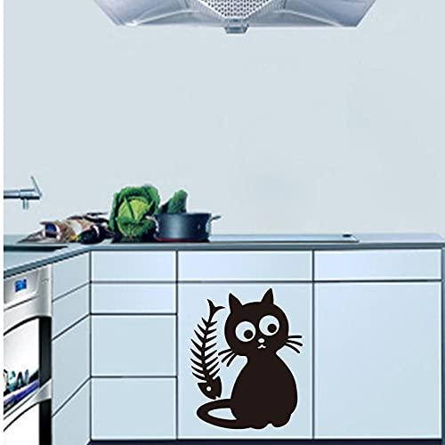 Vkjrro Lindo Gato Comida extraíble Vinilo Etiqueta de la Pared calcomanía Cocina azulejo refrigerador Papel Tapiz habitación de los niños decoración del hogar 50x62cm
