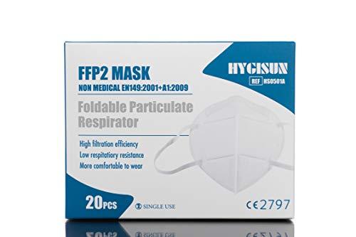 20 FFP2 HYGISUN Masken Einweg Masken einzelverpackt, Schutzmasken FFP2 Plus einem Kinnshield Plus 6 Haken geprüfte Masken CE2797