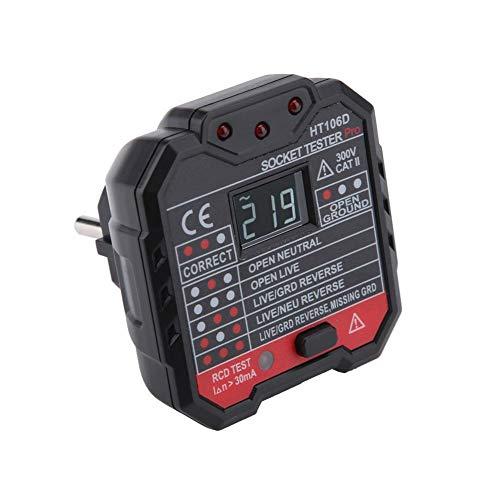 Zetiling Steckdosenprüfgerät, automatisches Steckdosenprüfgerät mit LCD-Display Neutralleiterprüfung RCD-Prüfgerät HT106D / HT106B / HT106E(# 1)