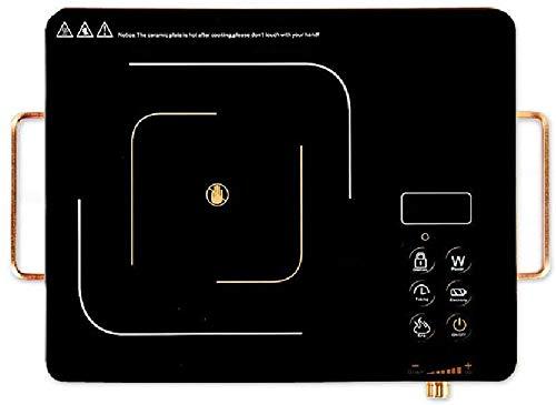 Oficina de inducción Placa vitrocerámica estufa portátil manija calentador eléctrico escaldar 2200W, sin control de la radiación botón de alta frecuencia de forma segura en silencio, negr.