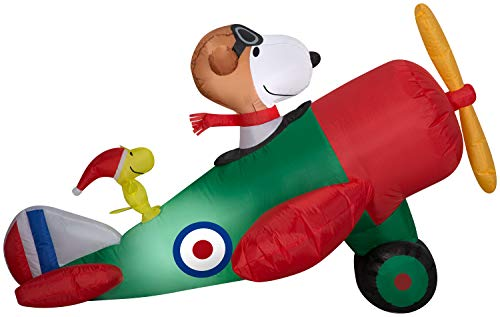 Snoopy in an Airplane Christmas Inflatable
