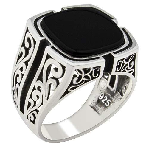 Solid 925 Sterling Silver Black Onyx Stone Turkish Handmade Luxury Men's Ring black