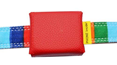 Tracker-Tasche Nappaleder, innen PVC, mit Klettverschluss und flachem Steckverschluss, Adressfach, Hinweislabel Phone Inside!, für GPS Tracker 51x41x15mm, in 8 Farben erhältlich (Kirschrot)