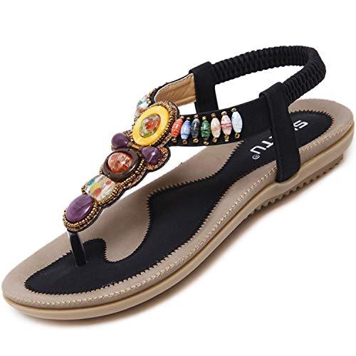 Flach Sandalen Damen Sommer Zehentrenner mit Strass Bohemian Flip Flops Freizeit Outdoor Sandaletten Frauen Strand Schuhe mit Weiche Fußbett Schwarz 38 EU = Herstellergröße 39