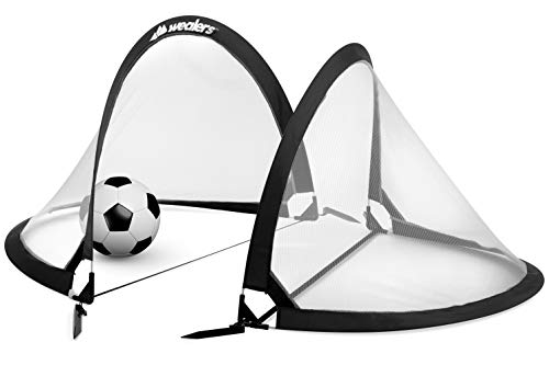 Collapsible Soccer Goal Set of 2 with Travel Bag - Ultra Portable 4 Foot Instant Pop Up Football Goal Nets for The Beach| Playground | Backyard | Camping - Kids Soccer Training Nets (Black)