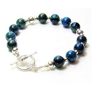 Handmade Chrysocolla Gemstone Toggle Bracelet