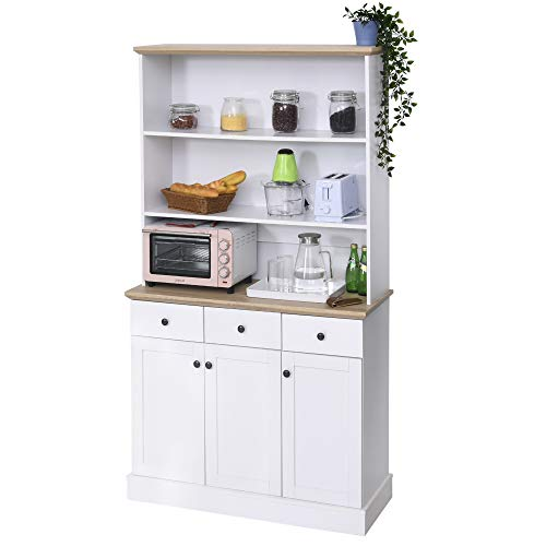 "HOMCOM 71"" Kitchen Pantry Buffet Server Hutch Storage Sideboard, Bookcase with Drawers & Cabinets for Living Room, White"