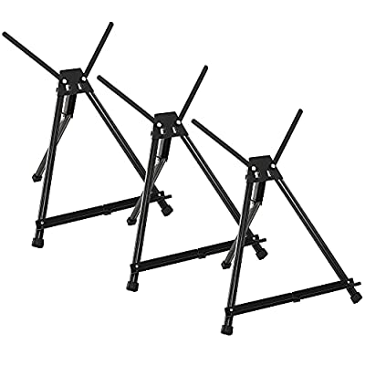 """U.S. Art Supply 15"""" to 21"""" High Adjustable Black Aluminum Tabletop Display Easel with Extension Arm Wings - Portable Artist Tripod Folding Frame Stand - Holds Canvas, Paintings, Books, Photos, Signs"""