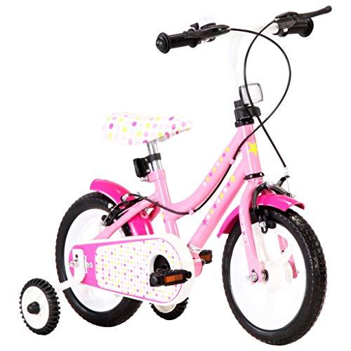 Festnight Kinderfahrrad 12 Zoll Weiß und Rosa mit Kettenschutz Schutzblech Höhenverstellbarer Lenker Mädchenfahrrad Kinderrad Fahrrad für Kinder Mädchen