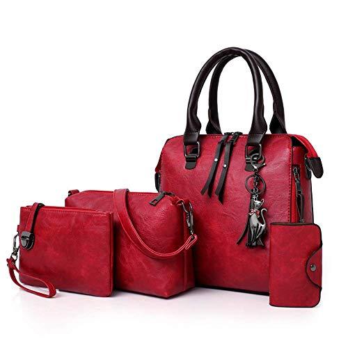 No/Brand Leather Shoulder Messenger Bag Tote Bag Bolsa 4pcs/Set Women Composite Bag Ladies Handbag Female Set Bag