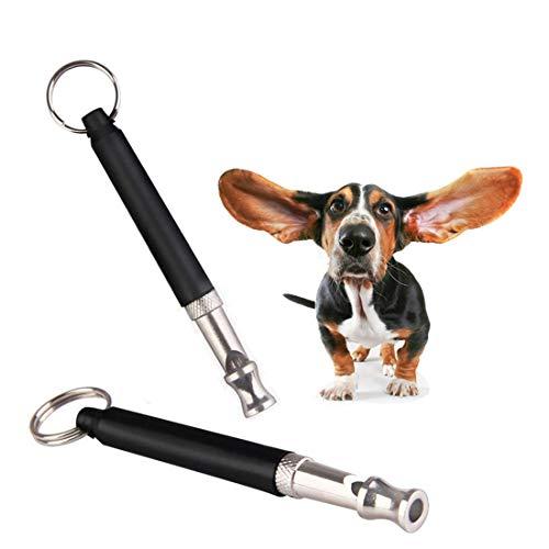 KOMUSII Hundepfeife Professionelle Ultraschall Pfeife Hochfrequenz Verstellbar mit Schlüsselband, Hundeerziehung Trainingpfeife Einstellbares Pitch (2 Stück)