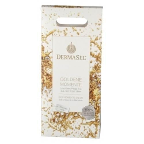 Dermasel Geschenkset Goldene Momente enthält Badesalz Gold, Dusgel Gold und Maske Gold