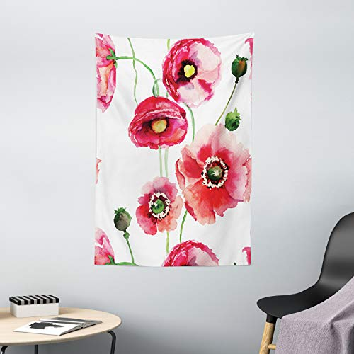 Ambesonne Watercolor Flower Decor Collection, Stylized Poppy Flowers Buds Watercolor Painting Effect, Bedroom Living Kids Girls Boys Room Dorm Accessories Wall Hanging Tapestry, Dark Pink White