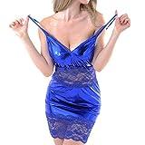 MORCHAN❤sous-vêtements en Cuir Artificiel en Dentelle Sexy pour Femmes sous-vêtements en Tentation avec tenture en Maille translucide(Taille Libre,Bleu)