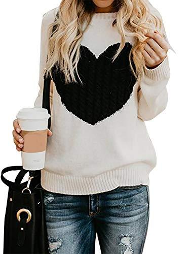 Mujer sudaderas Básico Punto Suéter de Moda O-Cuello Otoño Invierno Oversize Jerseys Blusas Abrigo Tops (Small, Beige)
