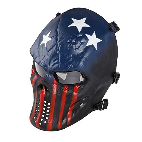 Airsoft Maske mit Schutzbrille Halloween Skull Schutzmaske Taktische Full Face fur Paintball Softair CS Partyspiel Kapitän & Grau Linsen