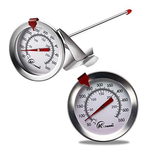 KT THERMO Deep Fry Thermometer With Instant Read,Dial Thermometer,6' Stainless Steel Stem Meat Cooking Thermometer,Best for Turkey,BBQ,Grill