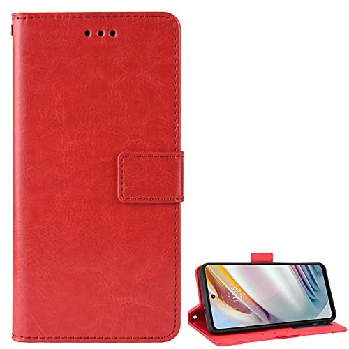 BAILI Lederhülle für Oppo Reno4 Z 5G Hülle, Flip Hülle Schutzhülle Handy mit Kartenfach Stand, Tasche Cover Etui Handyhülle für Oppo Reno4 Z 5G, Rot