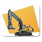 Semtomn Alfombrilla de ratón Excavadora Cuchara de excavadora amarilla Boceto de ingeniería Actividad de transporte Retroexcavadora Alfombrilla para portátiles, computadoras de escritorio Alfombrillas
