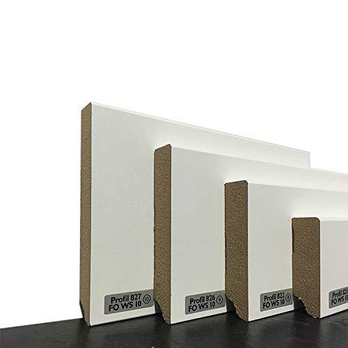 Sockelleisten im Weimarer-Profil | Fußleisten mit MDF Kern in weiß | Wandabschlussleiste mit Kabelkanal | Fußbodenleisten verfügbar in den Maßen 2,40m x 58mm | leicht zu montieren | MADE IN GERMANY