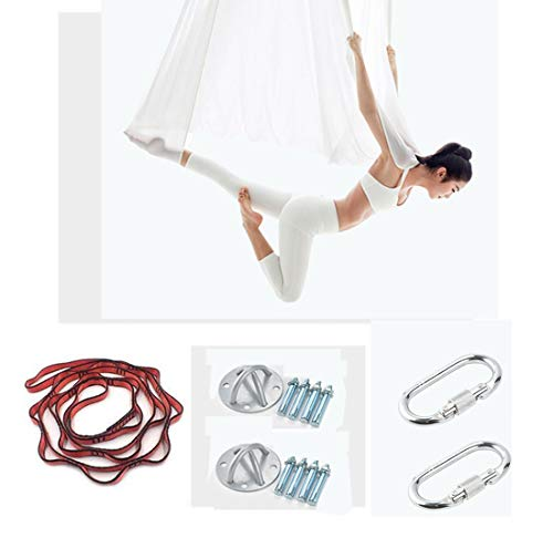 ZEH Luft Schaukel Stoff Stretch Durable Hammock Luft Silks 5 Meter Hammock Pilates Tanz-Equipments, Silber, S FACAI