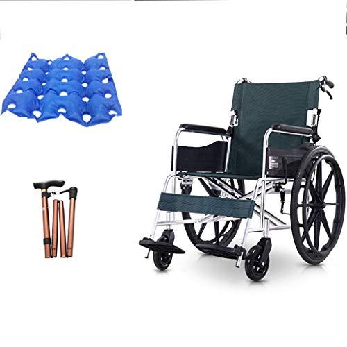 Ocye Lichte transportstoel voor op reis, compact design, opvouwbare pedalen, luxe aluminium rolstoel, perfect voor op reis, met opbergtas