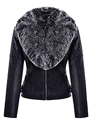 Geschallino Women's PU Faux Leather Jacket with Detachable Faux Fur Collar, Fashion Moto Short Coat, 2 Zippered Pockets, for Winter and Fall, Gray Fur, XXL