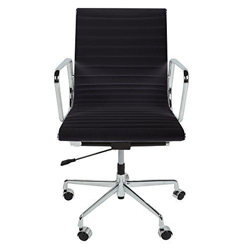 Style Interior Furniture Bürostuhl aus echtem Leder, geriffelt, schwarz oder weiß, mit Chromfüßen und Rollen Schwarz