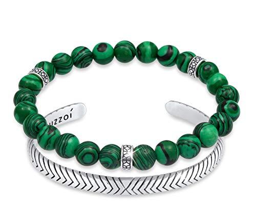 Kuzzoi Buddha Herren Armband Set bestehend aus einem elastischen Edelstein Armband mit Silber Beads und einem offenen Armreif aus 925 Sterling Silber oxidiert, Länge 19 cm