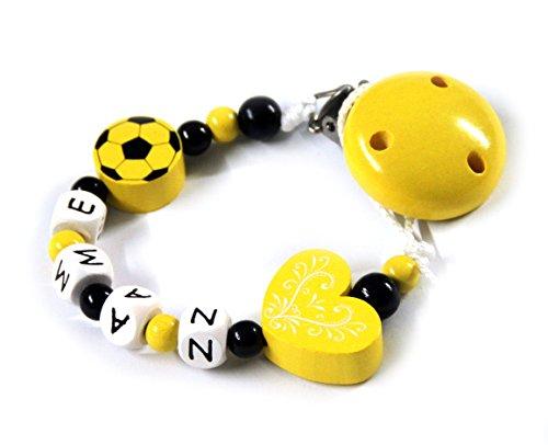 Baby Schnullerkette mit Perlen aus Holz und Wunschname. Vereinsfarben gelb schwarz
