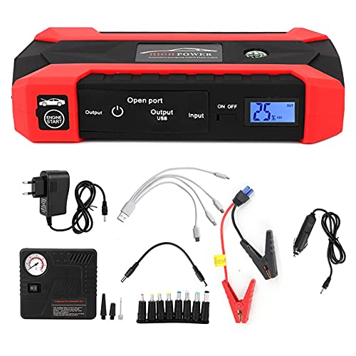 Fydun Start Power Kit, 12V 20000Mah Multifuncional Car Jump Starter Banco de energía de Emergencia Cargador Conjunto de Bomba de Aire Rojo 110V-240V(European Plug)