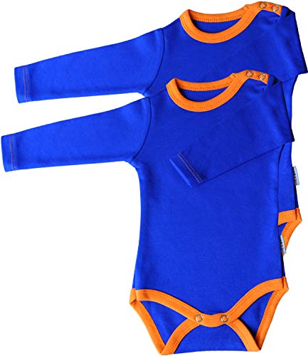 Princess Taufkleid Langarm Body 2er Pack blau/orange Grösse 56 Unisex 100% Baumwolle Druckknöpfe