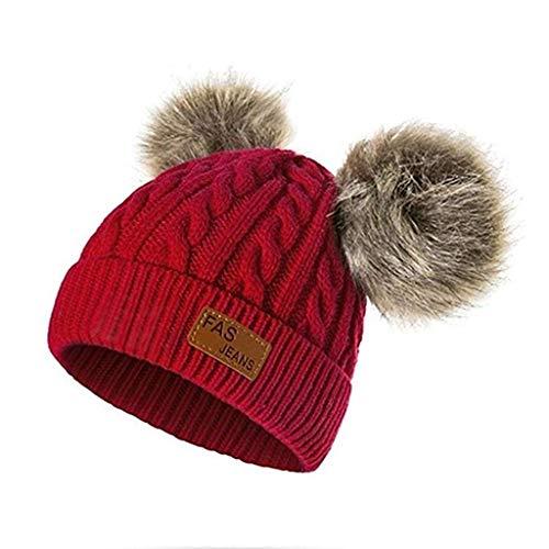 Yowablo Beanie Mützen Strickmütze Warme Fellknäuel Baby Winter Strickmütze Kinder (Rot)