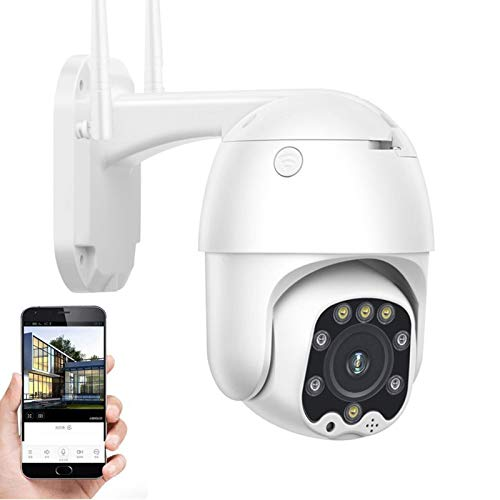 Cámara de vigilancia IP Exterior,Cámara de seguridad 4G SIM,CCTV PTZ 1080P HD visión nocturna,voz bidireccional,detección de movimiento,alarma,impermeable,para garaje/puerta (Cámara+tarjeta TF de 64G)