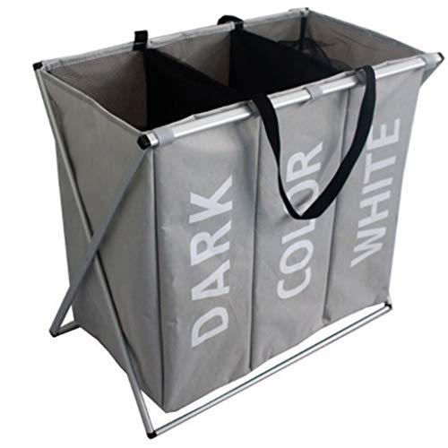 WXJY Übergroßer Dreiteiliger Wäschekorb, Zusammenklappbarer Aluminiumrohrkorb, Mehrfarbige Badezimmer-Oxford-Falzmaschine Gray