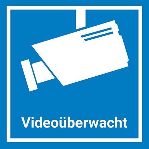 6x Videoüberwachung Aufkleber Sticker, 15x15cm, Blau, Warnaufkleber Kamera mit UV-Schutz, Aussen, Objekt videoüberwacht, Hinweis Piktogramm Kameraüberwachung, Schild
