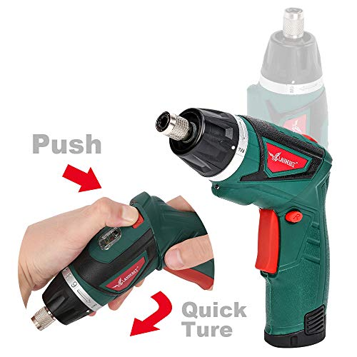 LANNERET Electric Screwdriver Hand Drill 2x Pack 1500mAh 7.2V Li-Ion Battery MAX Torque 9N.m Rechargeable Cordless Screwdriver with 6+1 Torque,10pcs Drill Bits LED Light,Green