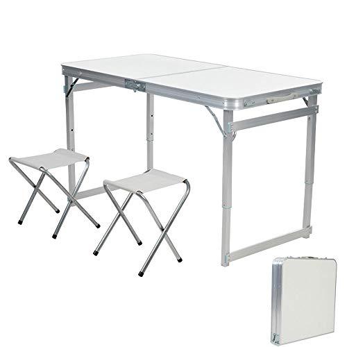 LOOCJ Campingtisch Klapptisch, mit 2 Hocker,Faltbarer und höhenverstellbarer Reisetisch aus Alu, 120x60x52-72CM,Tragfähigkeit bis 100 kg