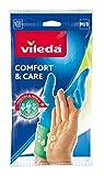 Vileda Comfort and Care - Guanti in gomma con lozione camomilla, taglia M, 1 paio